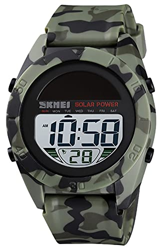 Herren Digital Uhr - Militär Sport Armbanduhr Herren Große Ziffernblatt 50M Wasserdicht Stoppuhr LED-Licht Wecker Datum Armee Grün Tarnung Outdoor Solar Uhren für Herren
