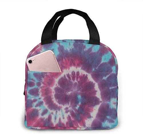 DIY Tye Dye Tapestry Lunch Bag Large Durable Insulated Waterproof Cooler Thermal Lunch Bag for Women and Men Fashionable Lunch Tote Bag for Work School Beach Picnic Camping