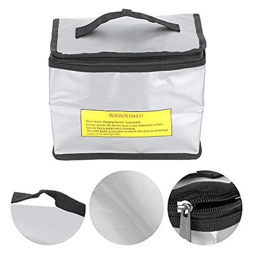 Bolsa de Seguridad para batería, Bolsa Protectora de batería Lipo Plateada para Almacenamiento de batería Lipo para Almacenamiento de baterías de Aviones RC