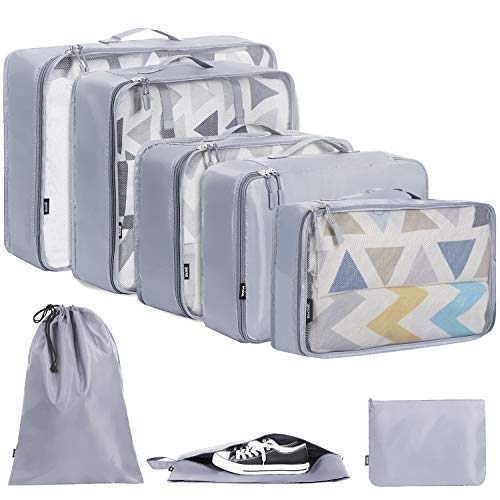 BAGAIL 7 Set / 8 Set Packing Cubes Luggage Packing Organizers for Travel Accessories(8 Set Grey)