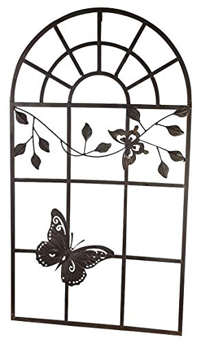 aubaho Nostalgie Stallfenster Fenster Metall Rahmen Schmetterling Antik-Stil braun 97cm