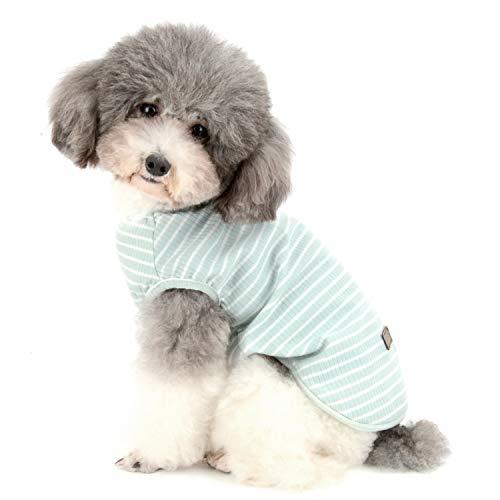 Zunea Camisa para perros pequeños y gatos para mascotas a rayas camiseta de verano Cool Chaleco básico sin mangas de algodón suave Chihuahua ropa para perrito niña niño verde S