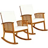 Tangkula 2 PCS Outdoor Acacia Wood Rocking Chair, Wooden Rocker w/Detachable Washable Cushions, Rocker for Porch Garden Patio Balcony Pool Indoor (2, Teak)