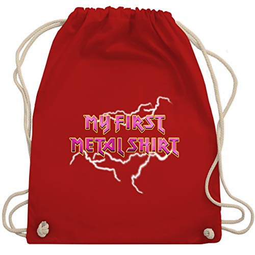 Sprüche Kind - My first Metal Shirt mit Blitzen rosa - Unisize - Rot - WM110_Stoffbeutel - WM110 - Turnbeutel und Stoffbeutel aus Baumwolle