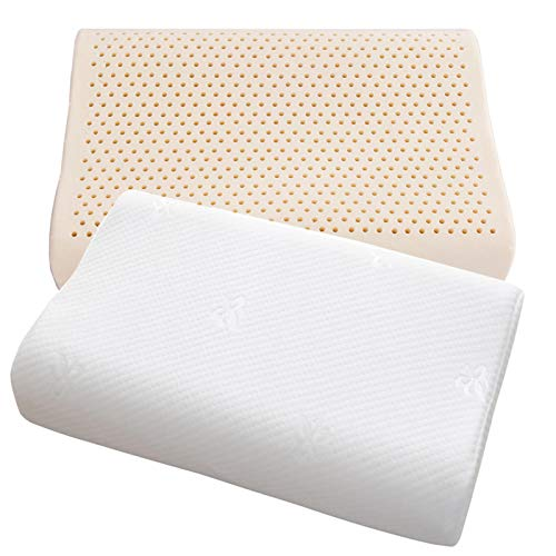 100% Organic Natural Latex Pillow for Sleeping,Cervical Pillow for Neck Pain,Ergonomic Contour Design Orthopedic Wave Pillow with Washable Pillowcase, SHUNLI