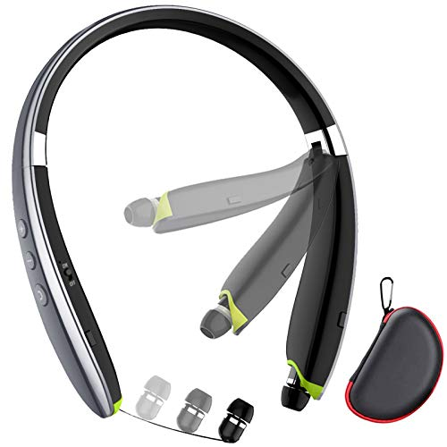 Bluetooth Headphones, LOVOCOO [2021 Upgraded] Neckband Bluetooth Headset with Retractable Earbuds, Noise Cancelling Stereo Wireless Earphones with Mic for Sports Office (with Carry Case) (Grey)