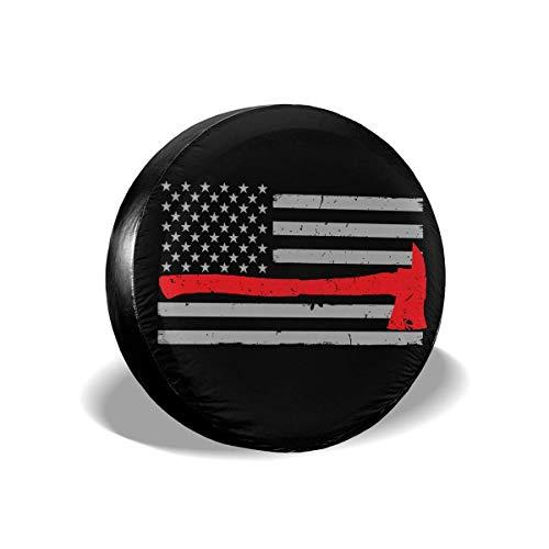 Firefighter Axe Red Line Flag Cubierta de neumático ajustable con protector solar impermeable de 16 pulgadas, adecuada para automóvil, Rv, remolque, cubierta de rueda de neumático de 16 pulgadas