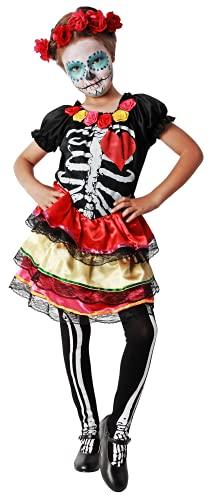 Gojoy shop- Disfraz de Mejicana del Dia de los Muertos para Niñas o Niños Halloween Carnaval (Contiene Vestido y Diadema de Flores Esqueleto , 4 Tallas Diferentes) (3-4 AÑOS)