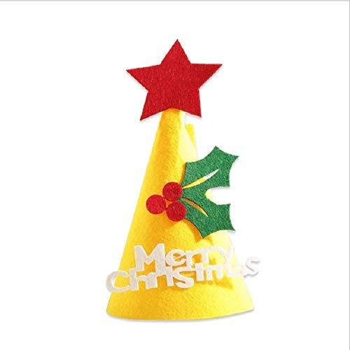 SHUFEIVICC 2 PCS Fai da Te Regalo dei Bambini del Natale Handmade Cappello di Natale Stereo Decorazioni Albero di Natale Ornamenti, Tipo: Foglie Gialle