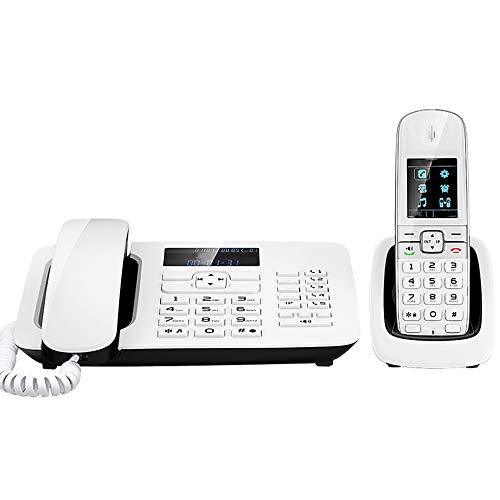 TTBB Telefono Cordless Bianco/Nero con Segreteria Telefonica, Pulsanti Opachi, Durata della Registrazione di 1000 Ore, Lista Nera, Quadrante One-Touch