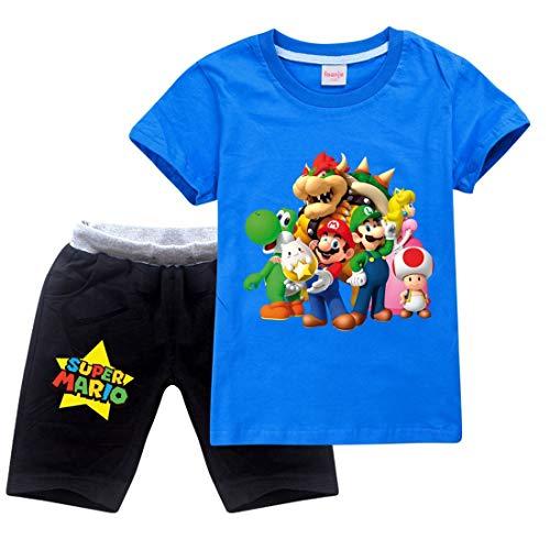Jungen Super Mario Drucken T-Shirt & Kurze Hose Baumwoll-Kleidungsset Sportanzüge Mädchen Sommer Kurzarm Pyjama (Blue, 5-6 Jahre)