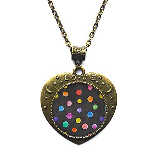 Collar de lunares, collar para uso diario, puntos, collar de amistad, lindo y simple, regalo de lunares, colgante de cúpula de cristal artístico-JV209