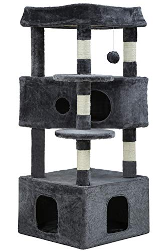 BestPet Cat Tree Cat Tower Cat Condo Playground Cage Kitten Medium Multi-Level 48.8 Inches Activity Center Play House Scratching Post Furniture Large Soft Plush Perches,Grey