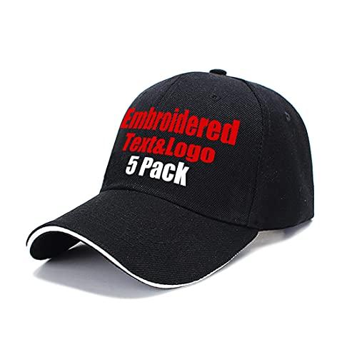 MEINAMI 5 Paquetes Gorra de béisbol Personalizada 100% algodón Sombrero Bordado Personalizado Gorra