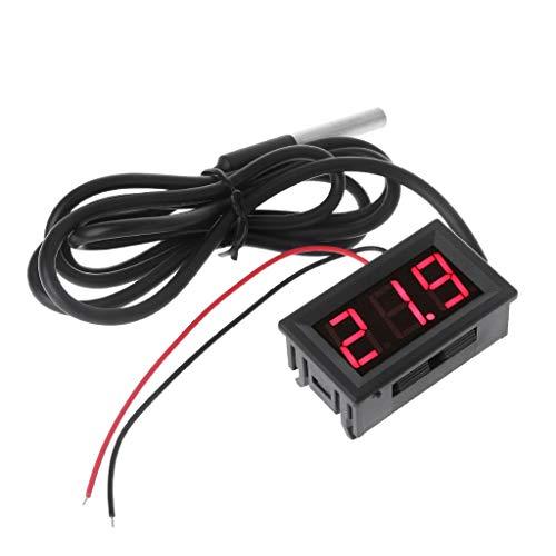 "Fogun -55 bis 125 ° c DC 12 V Digitales LED-Thermometer Auto Temperature Display Panel Meter mit 0,56""LED Digital Tub (Rot)"
