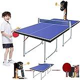 WNN-URG Stoge 2020 Tabla Mesa de ping pong con ping-pong robot máquina de entrenamiento, plegable Mesa de ping-pong con Net Paddle y Huevos, compacto de tamaño mediano del Reglamento de Altura interio