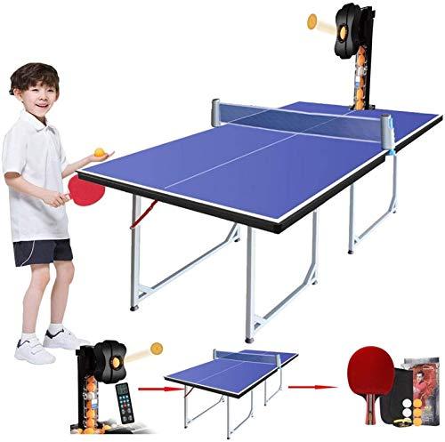 WNN-URG Stoge 2020 Tabla Mesa de ping pong con ping-pong robot máquina de entrenamiento, plegable Mesa de ping-pong con Net Paddle y Huevos, compacto de tamaño mediano del Reglamento de Altura