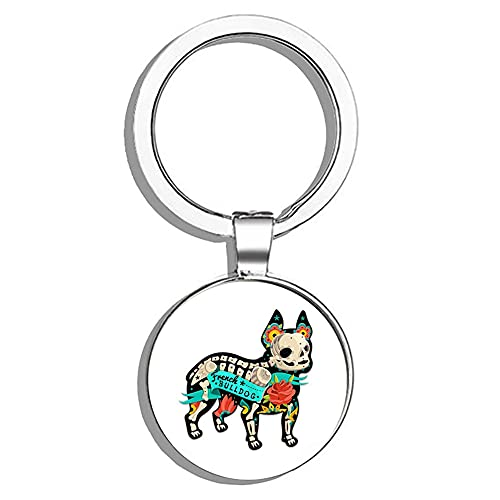 HJ Media Dia De Los Muertos French Bulldog Metal Round Metal Key Chain Keychain Ring