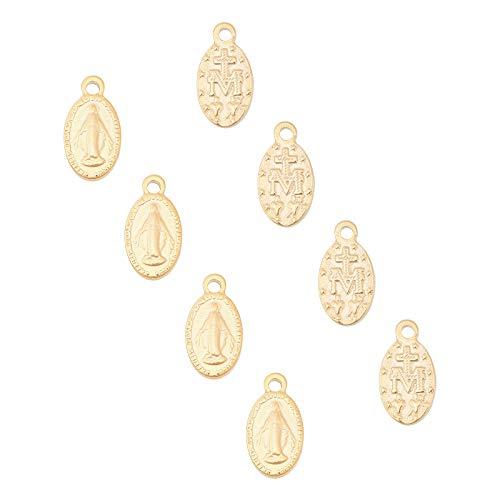 UNICRAFTALE 10 Uds Cadena Extensora Ovalada Colgantes de Acero Inoxidable Ovalados con Dijes de la Virgen María Dije de Gota de 15 mm