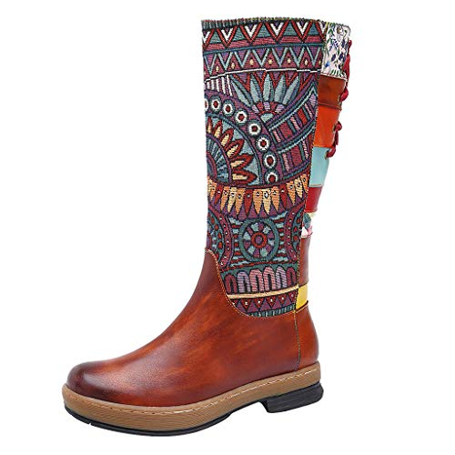 Buy jin&Co Womens Stylish Boots Lace Up Embroidery Splicing Pattern Bohemian Low Heel Calf Boots H...