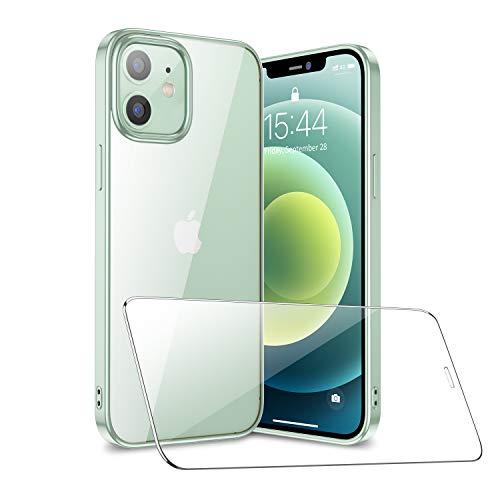 SmartDevil Compatible con iPhone 12/ iPhone 12 Pro Funda con Gratis Vidrio Templado Protector de Pantalla, Ultra Fina Silicona Transparente TPU Carcasa Anti-Choque Anti-arañazos Caso, Verde Claro