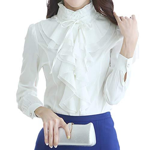 Nanxson Mujer Manga Larga Blusa con Volantes Botón Victoriano Vintage Camisa...