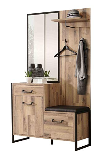 lifestyle4living Garderoben-Set in Eiche-Dekor, Metall, 114 cm | Kompakt-Garderobe mit Sitzbank im modernen Design