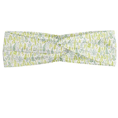 ABAKUHAUS Natuur Hoofdband, Monochrome Kruiden en Planten, Elastische en Zachte Bandana voor Dames, voor Sport en Dagelijks Gebruik, Sage Groen Geel Groen