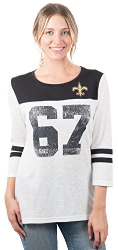 Ultra Game NFL New Orleans Saints Womenss T-Shirt Vintage 3/4 Long Sleeve Tee Shirt, White, Medium