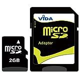 Vida IT Tarjeta de memoria Micro SD de 2 GB para teléfono móvil y dispositivos Micro SD compatibles, viene con adaptador SD gratuito, memoria flash de grado A de alta velocidad