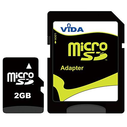 Vida IT 2GB Micro SD Scheda di Memoria con Adattatore SD (Mini Case) per Cellulare - Tablet PC - Alta velocità Memoria Flash - Garanzia a Vita Limitata