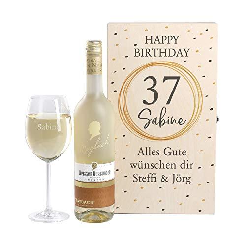 Herz & Heim® Maybach Wein-Geschenkset mit graviertem Weinglas und Weißwein zur Auswahl ein edles Geburtstagsgeschenk Weißer Burgunder