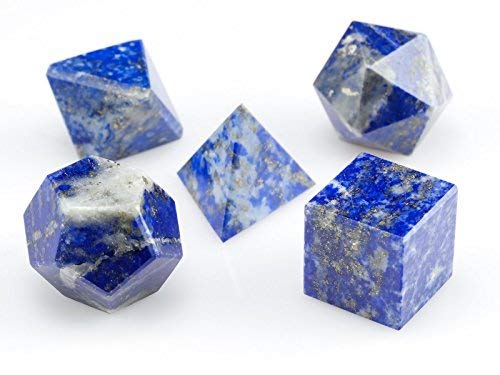 Excel Blue Lapis Lazuli Platonic Solids-Sacred Geometry Stone Carving Crystal-Set of 5