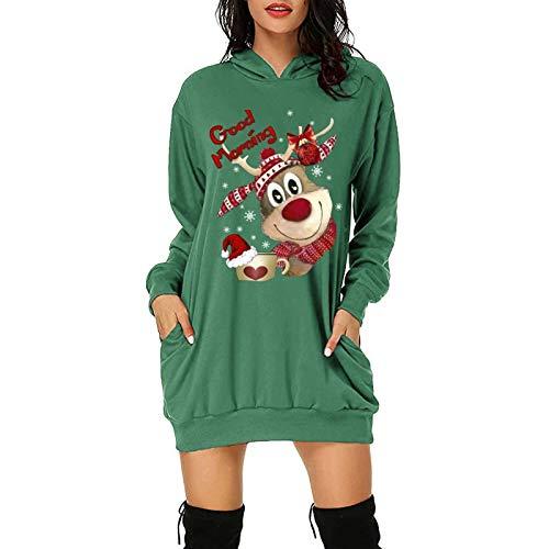 Vestido Sudadera Mujer Invierno, Vestido Navidad Mujer con Capucha Mujer Sudadera con Capucha Talla Grande Sudadera Vestido Manga Larga Casual Estampado Hoodie Jersey Lonshell