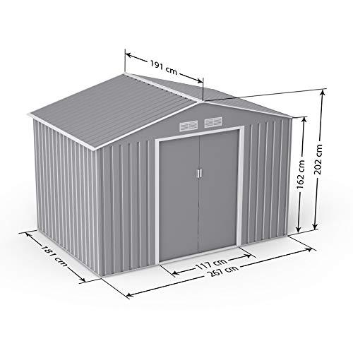 BillyOh Ranger Apex Metal Shed with Foundation Kit | Metal Garden Storage | 9x6 Garden Shed - Light Grey