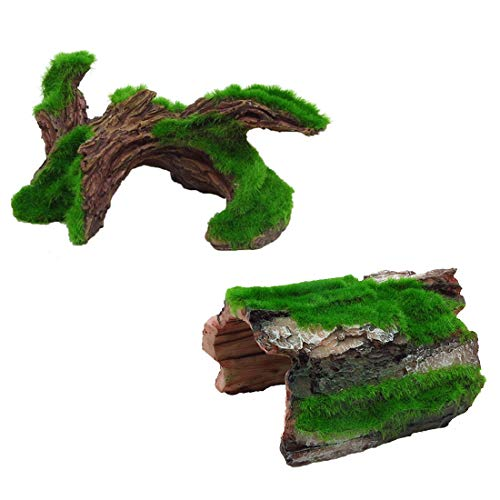 Tfwadmx Aquarium Tree Trunk Decorations, Betta Log Resin Hollow Ornament Hideouts Reptile Cave Bark Bends Small Medium Fish Tank Decor for Small Fish Pets to Swim Through 2 Pack