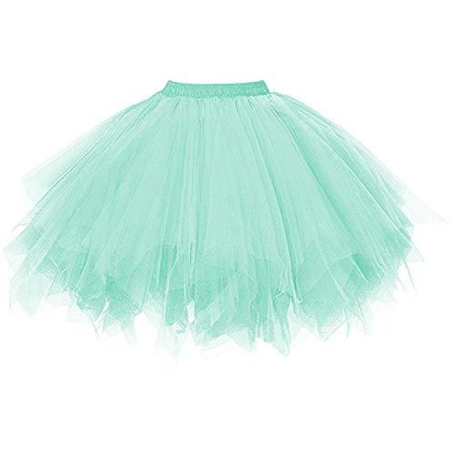 DresseverBrand Damen Petticoat 50er Rockabilly Jahre Retro Tutu Ballet Tüllrock Cosplay Crinoline Minze Small/Medium