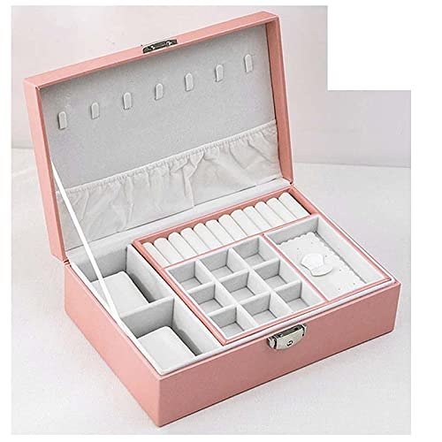 Jewelry Organizer Caja de joyería Pendiente de almacenamiento de cuero creativo Portátil Portátil Multi-capa Caja de maquillaje PU Reloj Caja Collar Soporte Organizador De Joyas ( Color : Pink A )