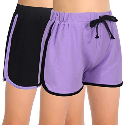 GORLYA Paquete de 2 pantalones cortos de delfín para niña, para entrenamiento, gimnasio, atletismo, deporte, correr, casual, para entrenamiento, Negro y púrpura, 12 Años