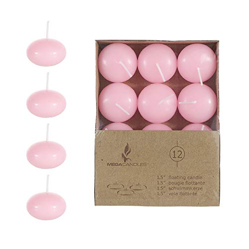 """Mega Candles 12 pcs Unscented Pink Floating Disc Candle 