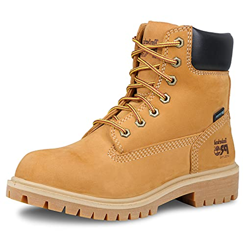 "Timberland PRO Women's Direct Attach 6"" Steel Toe Waterproof Insulated Industrial & Construction Shoe, Wheat Nubuck, 8"