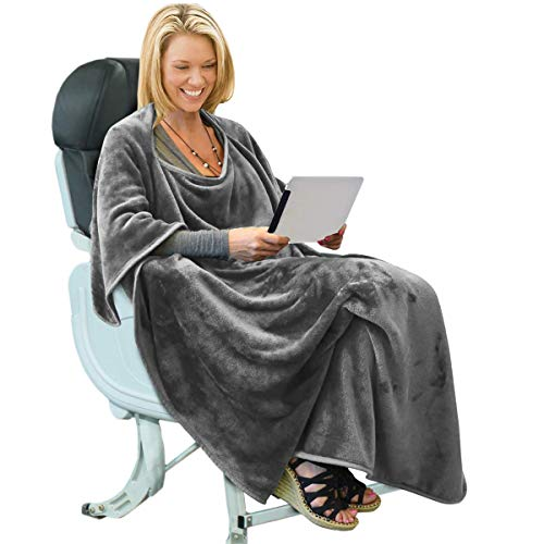 Portable Travel Blanket Airplane Office 4 in 1 Premium Mink Fleece Poncho Blanket Folable with Pocket and Built-in Bag - Great for Airplane Car Train Travel Camping - Ultra Soft and Cozy, Grey