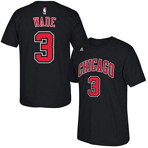 Dwyane Wade Chicago Bulls Jersey Name and Number T-Shirt, (Black / X-Large)