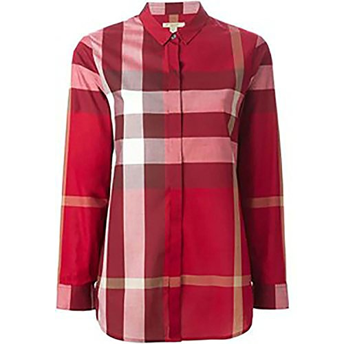 Burberry - Camisa con diseño de Cuadros Rojos para Mujer Rojo M