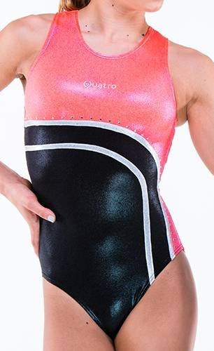 Quatro Gymnastics Mädchen Gymnastikanzug Gymnastik Tanzkleidung Kurzarm Helix SS Orange, Kindergröße L