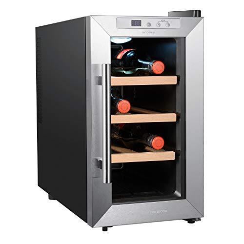 IKOHS VINARIAM WOOD 800 - Vinoteca de 8 botellas, 23 l, 60 W, Luz LED, Display Digital, 3 Estantes, Doble Aislamiento, Zonas de temperatura de 8-18 grados, Baldas Acero Inoxidable