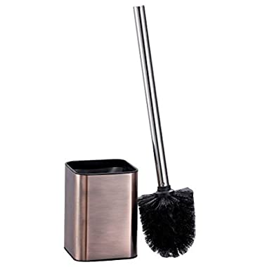 Toilet Bowl Brush and Holder for Bathroom Decorative Design Compact Bowl Scrubber Bathroom Accessories Set- Bronze