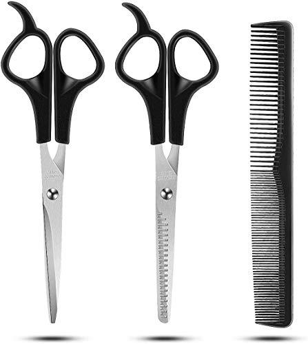 JALIYA Hair Cutting Scissors Set, 3 Pcs Stainless Steel Hair Cutting Shears Kit, Professional Barber Salon Home Shears Kit For Men Women Pet