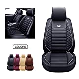 OASIS AUTO OS-011 Leather Car Seat Covers, Faux Leatherette Automotive Vehicle Cushion Cover for Cars SUV Pick-up Truck Universal Fit Set for Auto Interior Accessories (Front ONLY, Black)