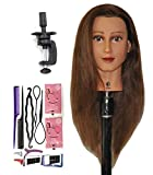Bellrino 24' 100% Human Hair Cosmetology Mannequin Manikin Training Head with Clamp (24' ETHNIC SKIN (ABBY+SET-NEW) ((ABBY+SET-NEW))